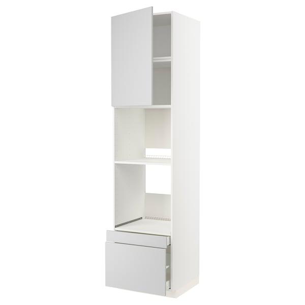 METOD / MAXIMERA Högskåp f ugn/komb ugn m dr/2 lådor, vit/Veddinge grå, 60x60x240 cm