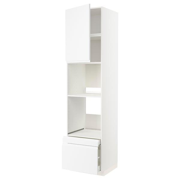METOD / MAXIMERA Högskåp f ugn/komb ugn m dr/2 lådor, vit/Voxtorp matt vit, 60x60x240 cm