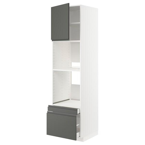 METOD / MAXIMERA Högskåp f ugn/komb ugn m dr/2 lådor, vit/Voxtorp mörkgrå, 60x60x220 cm