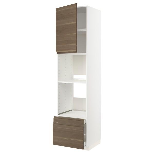 METOD / MAXIMERA Högskåp f ugn/komb ugn m dr/2 lådor, vit/Voxtorp valnötsmönstrad, 60x60x240 cm