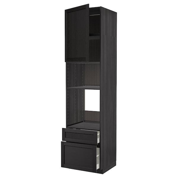 METOD / MAXIMERA Högskåp f ugn/mikro m dörr/2 lådor, svart/Lerhyttan svartlaserad, 60x60x240 cm
