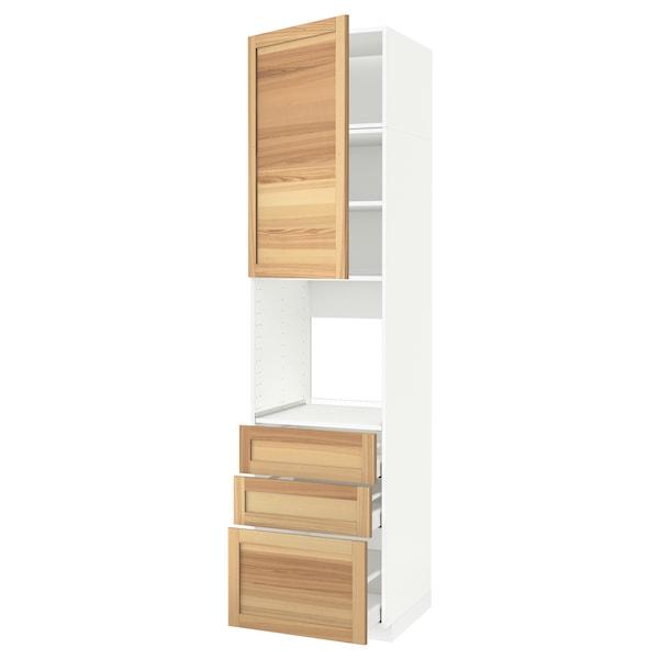 METOD / MAXIMERA Högskåp för ugn + dörr/3 lådor, vit/Torhamn ask, 60x60x240 cm