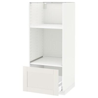 METOD / MAXIMERA Högskåp för ugn/mikro m låda, vit/Sävedal vit, 60x60x140 cm
