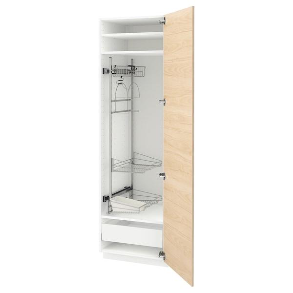 METOD / MAXIMERA Högskåp med städskåpsinredning, vit/Askersund ljus askmönstrad, 60x60x200 cm