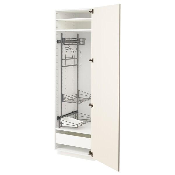 METOD / MAXIMERA Högskåp med städskåpsinredning, vit/Hittarp off-white, 60x60x200 cm