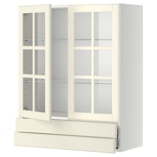 METOD / MAXIMERA Väggskåp m 2 vitrindörrar/2 lådor, vit/Bodbyn off-white, 80x100 cm