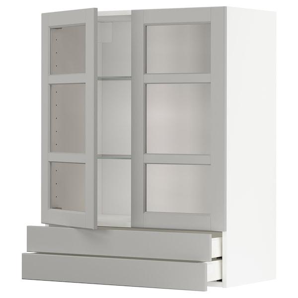 METOD / MAXIMERA Väggskåp m 2 vitrindörrar/2 lådor, vit/Lerhyttan ljusgrå, 80x100 cm