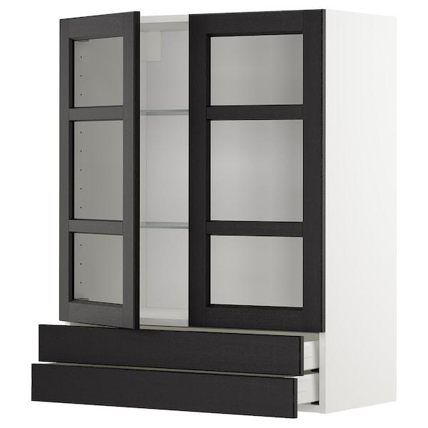 METOD / MAXIMERA Väggskåp m 2 vitrindörrar/2 lådor, vit/Lerhyttan svartlaserad, 80x100 cm