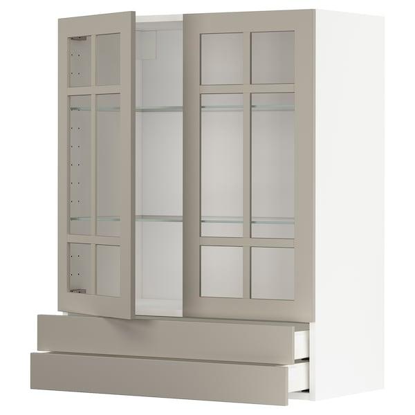 METOD / MAXIMERA Väggskåp m 2 vitrindörrar/2 lådor, vit/Stensund beige, 80x100 cm