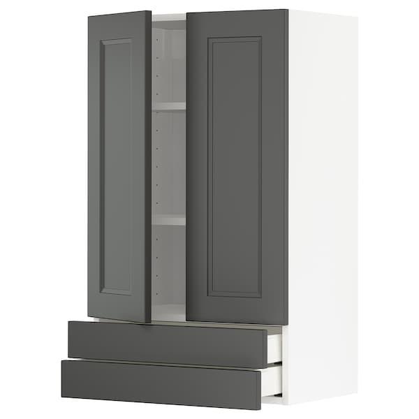 METOD / MAXIMERA Väggskåp med 2 dörrar/2 lådor, vit/Axstad mörkgrå, 60x100 cm