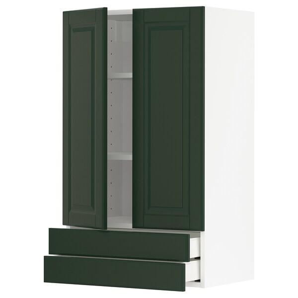 METOD / MAXIMERA Väggskåp med 2 dörrar/2 lådor, vit/Bodbyn mörkgrön, 60x100 cm