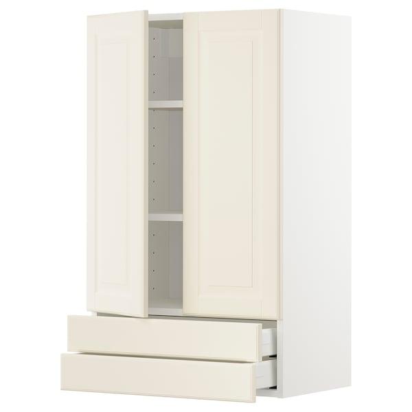 METOD / MAXIMERA Väggskåp med 2 dörrar/2 lådor, vit/Bodbyn off-white, 60x100 cm