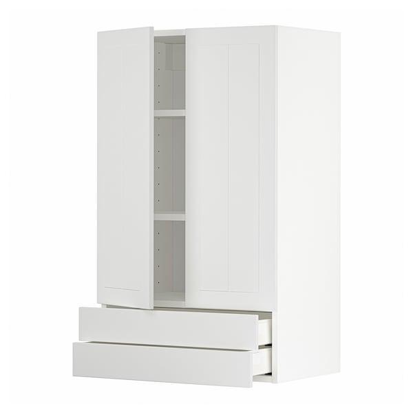 METOD / MAXIMERA Väggskåp med 2 dörrar/2 lådor, vit/Stensund vit, 60x100 cm