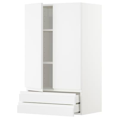 METOD / MAXIMERA Väggskåp med 2 dörrar/2 lådor, vit/Voxtorp matt vit, 60x100 cm