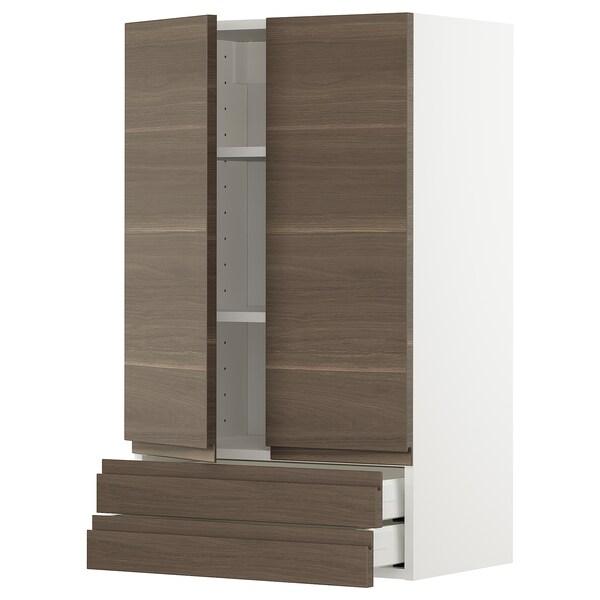 METOD / MAXIMERA Väggskåp med 2 dörrar/2 lådor, vit/Voxtorp valnötsmönstrad, 60x100 cm