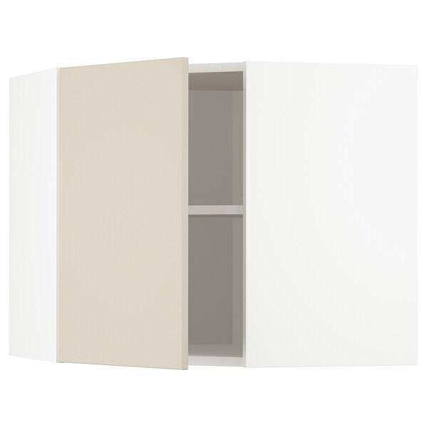 METOD Vägghörnskåp med hyllplan, vit/Havstorp beige, 68x60 cm