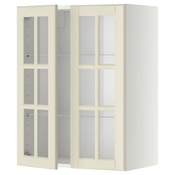 METOD Väggskåp m hyllplan/2 vitrindörrar, vit/Bodbyn off-white, 60x80 cm