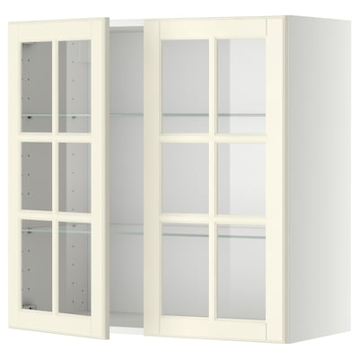 METOD Väggskåp m hyllplan/2 vitrindörrar, vit/Bodbyn off-white, 80x80 cm