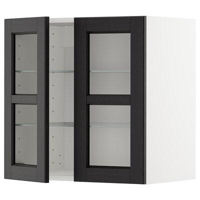 METOD Väggskåp m hyllplan/2 vitrindörrar, vit/Lerhyttan svartlaserad, 60x60 cm