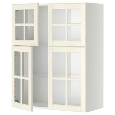 METOD Väggskåp m hyllplan/4 vitrindörrar, vit/Bodbyn off-white, 80x100 cm