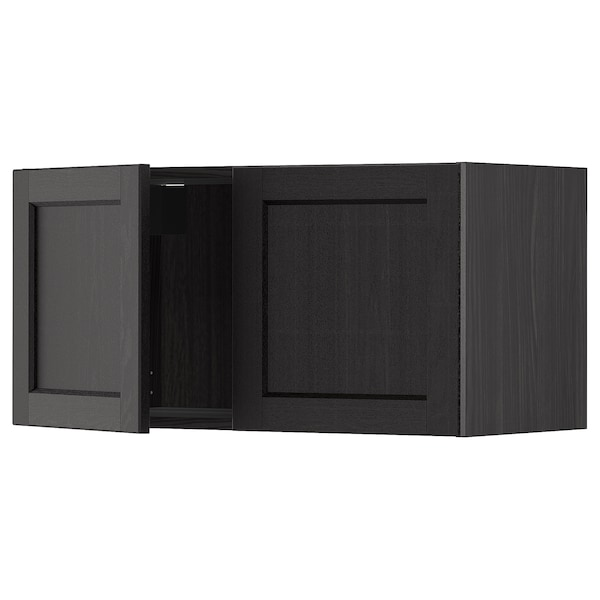METOD Väggskåp med 2 dörrar, svart/Lerhyttan svartlaserad, 80x40 cm