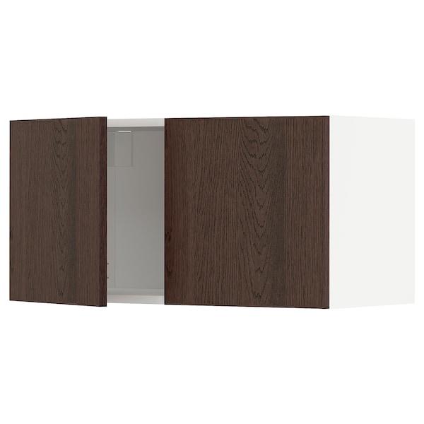 METOD Väggskåp med 2 dörrar, vit/Sinarp brun, 80x40 cm