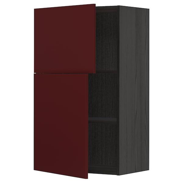 METOD Väggskåp med hyllplan/2 dörrar, svart Kallarp/högglans mörk rödbrun, 60x100 cm
