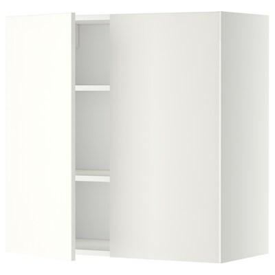 METOD Väggskåp med hyllplan/2 dörrar, vit/Häggeby vit, 80x80 cm