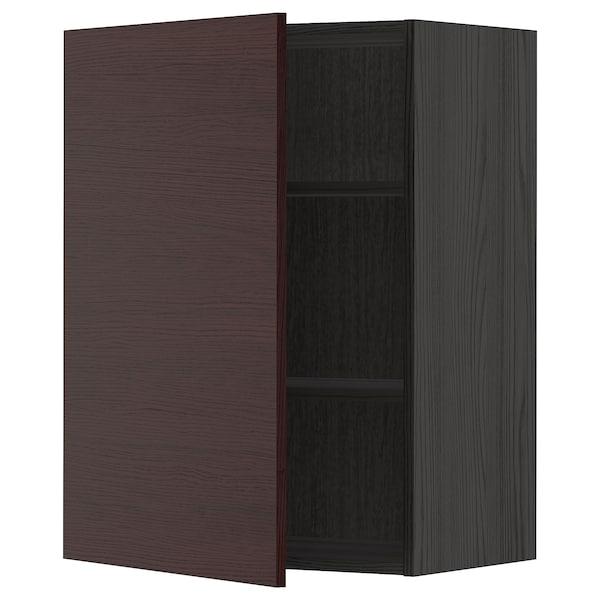 METOD Väggskåp med hyllplan, svart Askersund/mörkbrun askmönstrad, 60x80 cm