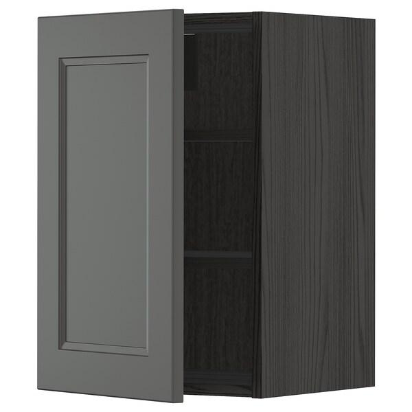 METOD Väggskåp med hyllplan, svart/Axstad mörkgrå, 40x60 cm