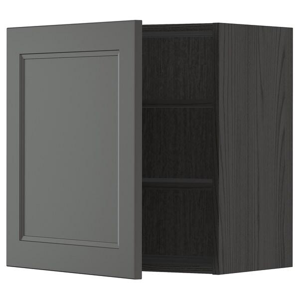 METOD Väggskåp med hyllplan, svart/Axstad mörkgrå, 60x60 cm