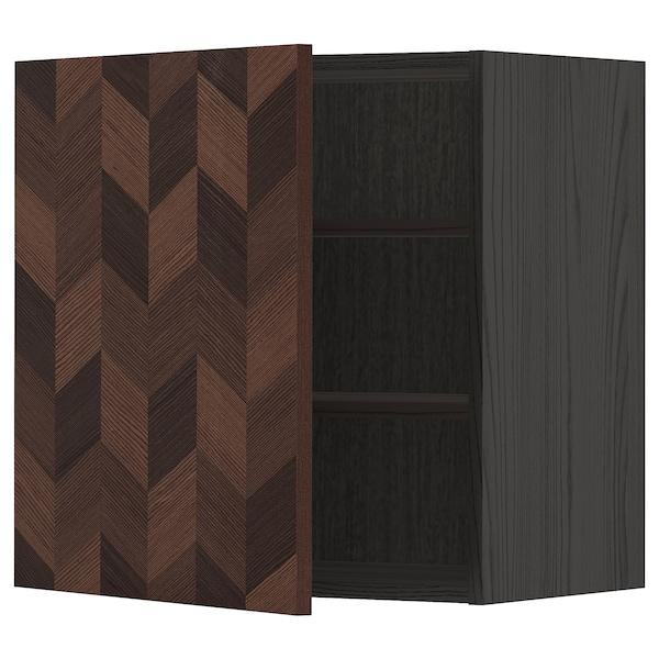 METOD Väggskåp med hyllplan, svart Hasslarp/brun mönstrad, 60x60 cm