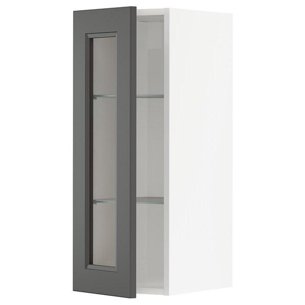 METOD Väggskåp med hyllplan/vitrindörr, vit/Axstad mörkgrå, 30x80 cm