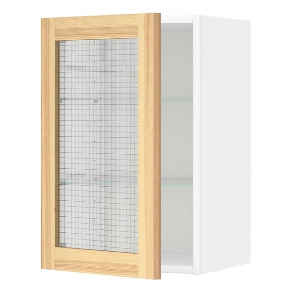 METOD Väggskåp med hyllplan/vitrindörr, vit/Torhamn ask, 40x60 cm