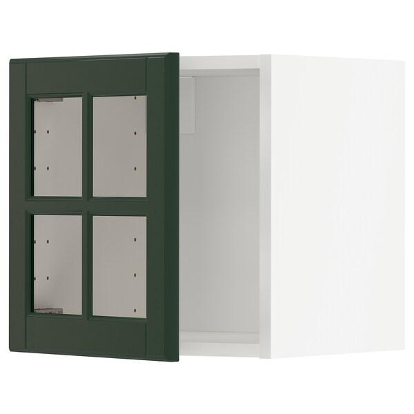 METOD Väggskåp med vitrindörr, vit/Bodbyn mörkgrön, 40x40 cm