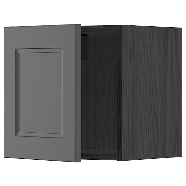 METOD Väggskåp, svart/Axstad mörkgrå, 40x40 cm