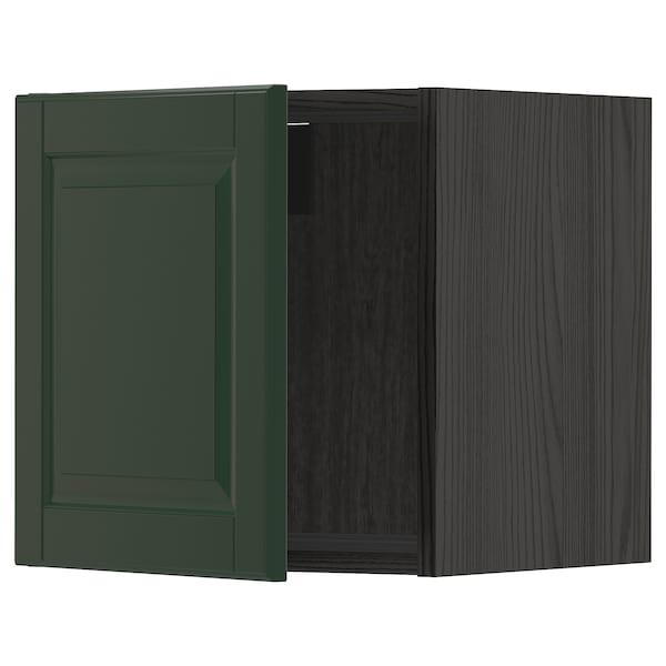 METOD Väggskåp, svart/Bodbyn mörkgrön, 40x40 cm