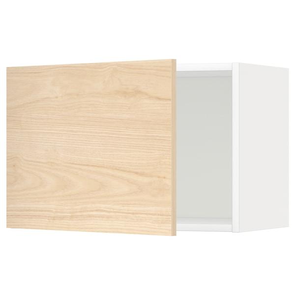 METOD Väggskåp, vit/Askersund ljus askmönstrad, 60x40 cm