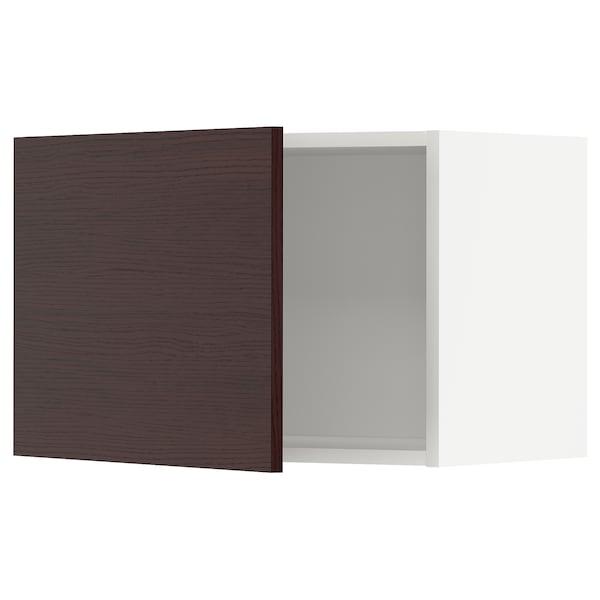 METOD Väggskåp, vit Askersund/mörkbrun askmönstrad, 60x40 cm
