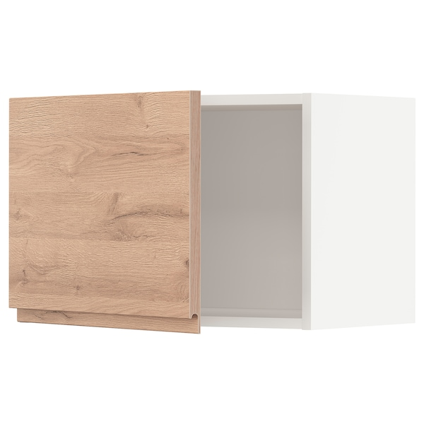 METOD Väggskåp, vit/Voxtorp ekmönstrad, 60x40 cm