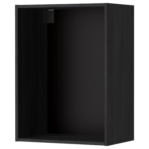 METOD Väggskåpsstomme, trämönstrad svart, 60x37x80 cm