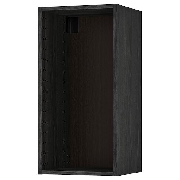 METOD Väggskåpsstomme, trämönstrad svart, 40x37x80 cm