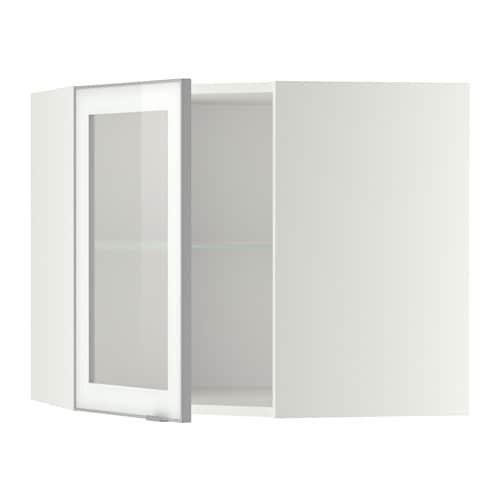 METOD Vägghörnskåp m hyllplan vitrindörr vit, Jutis frostat glas aluminium, 68×60 cm IKEA