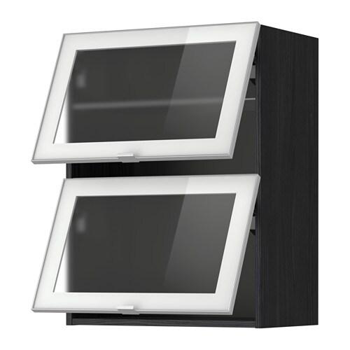 METOD Väggsk horisontalt m 2 vitrindörrar trämönstrad svart, Jutis frostat glas aluminium