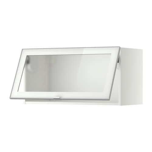 METOD Väggskåp horisontalt m vitrindörr vit, Jutis frostat glas aluminium, 80×40 cm IKEA