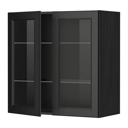 METOD Väggskåp m hyllplan 2 vitrindörrar trämönstrad svart, Laxarby svartbrun, 80×80 cm IKEA