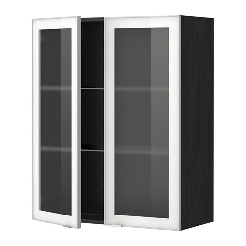 METOD Väggskåp m hyllplan 2 vitrindörrar trämönstrad svart, Jutis frostat glas aluminium