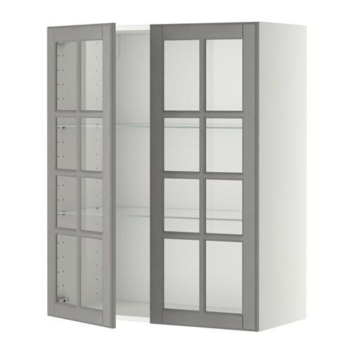 METOD Väggskåp m hyllplan/2 vitrindörrar - vit, Bodbyn grå, 80x100 ...