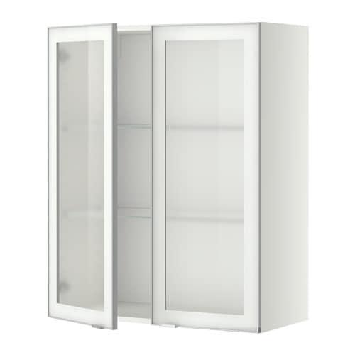 METOD Väggskåp m hyllplan 2 vitrindörrar vit, Jutis frostat glas aluminium, 80×100 cm IKEA