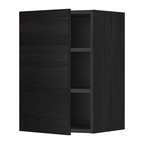 väggskåp badrum ~ metod väggskåp med hyllplan  trämönstrad svart, tingsryd